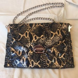 Black & Gold Python Print Chain Strap Envelope Bag